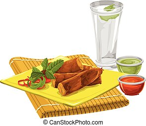 Vector of eggrolls with drink and sauce - Vector...