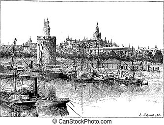 View of Seville, Spain, vintage engraving - View of Seville,...