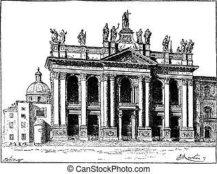 Basilica of Saint John Lateran in Vatican City, vintage engraving