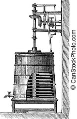 Clyburn Steam-driven Butter Churn, vintage engraving -...