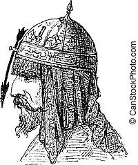 Nasal Helmet, vintage engraving - Nasal Helmet, showing...
