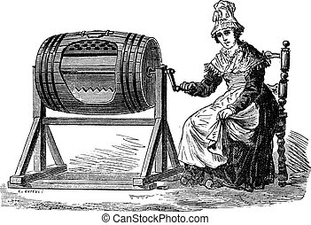 Woman using barrel churn for making butter vintage engraving...