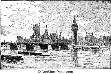 Westminster Bridge and the Houses of Parliament, London, England, vintage engraving.
