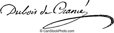 Signature of Guillaume Dubois (1656-1723), vintage engraving.