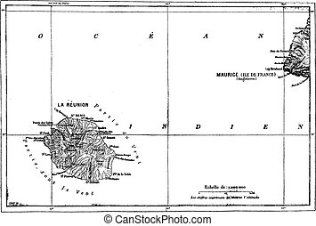 Reunion and Mauritius Map, vintage engraving.