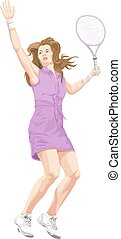 Vector of female tennis player.