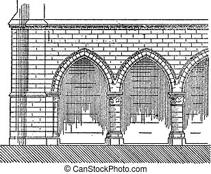 Gantry, The Episcopal Palace of Laon, vintage engraving.