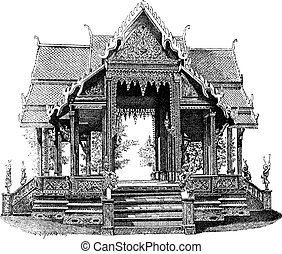 Hall of Siam, vintage engraving - Hall of Siam, vintage...