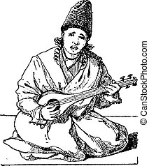 Tar lute vintage engraving - Old engraved illustration of a...