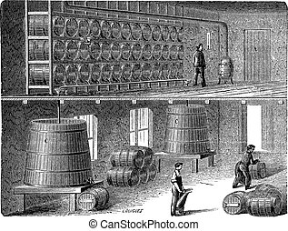 Orleans Method of Vinegar Manufacturing, vintage engraving -...