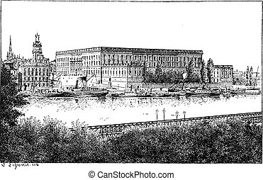 Royal palace in Stockholm, Sweden, vintage engraving - Royal...