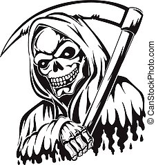 Tattoo of a grim reaper holding a scythe, vintage engraving.