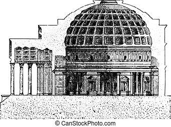 Pantheon, vintage engraving. - Pantheon, vintage engraved...