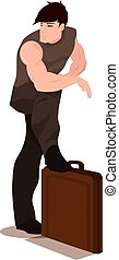 Man Standing Over a Briefcase, illustration