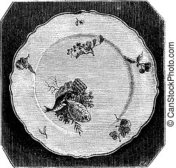 Plate of Marseille, vintage engraving - Plate of Marseille,...