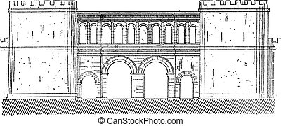 The gate of Saone-et-Loire vintage engraving