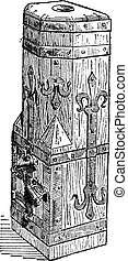14th Century Wooden Chest found at the Cathedral of Freiburg in Germany, vintage engraving