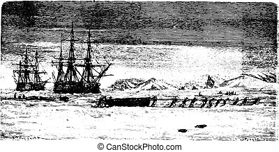 Ships trapped in ice at Spitsbergen, vintage engraving -...