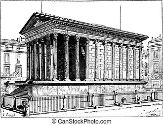 Maison Carree, in Nimes, Languedoc-Roussillon, France, vintage engraving