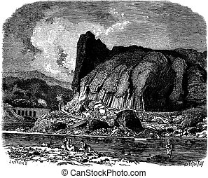 The basalts of Prades (Haute-Loire), vintage engraving. -...
