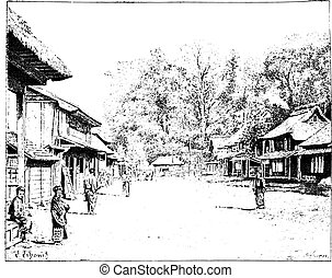 A street view of Yedo, Japan, vintage engraving. - A street...