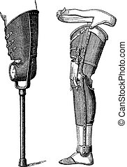 Artificial Legs, vintage engraving - Artificial Legs...