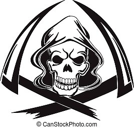 Tattoo design of a grim reaper with scythe, vintage engraving.