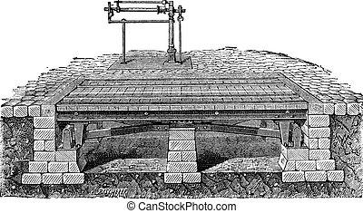 Bascule bridge or drawbridge vintage engraving - Old...