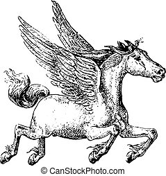 Pegasus, vintage engraving.