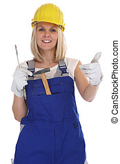 Craftsman woman female craftsmanship worker job thumbs up...
