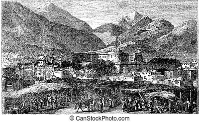 Kandahar capital city of province Afghanistan vintage engraving, in 1890s.