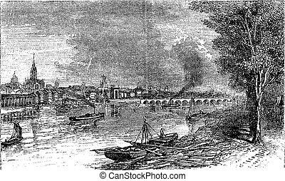 Bordeaux port city, Garonne River, France, vintage engraving.