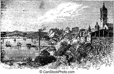 Bahia in Salvador, Brazil, during the 1890s, vintage engraving.