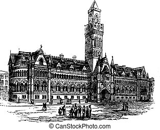 Bradford City Hall, Bradford, West Yorkshire, United Kingdom, vintage engraving in the 1890s