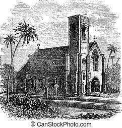 Saint Lucia Cathedral, in Colombo, Sri Lanka, vintage engraving