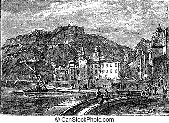 Amalfi in 1890, in the province of Salemo, Italy. Vintage engraving.