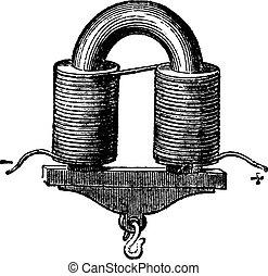 vendimia, grabado, Ilustración, Electroimán, en forma de U