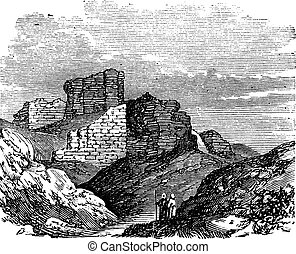 Ruins of the Main Palace in Babylonia vintage engraving.