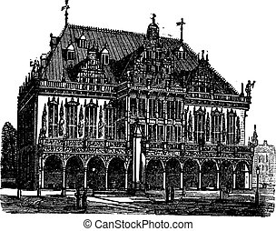 Council house or council estate, Bremen, Germany, vintage...
