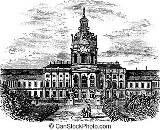 Charlottenburg Royal Palace, in Berlin, Germany, during the 1890s, vintage engraving.