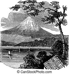 Mount Fuji in Japan vintage engraving