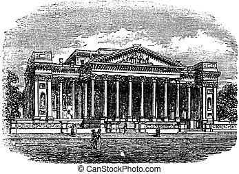 Fitzwilliam, Museum, Cambridge, United Kingdom, vintage engraving.