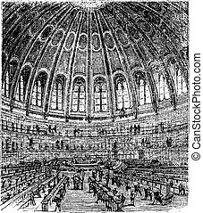 Sketch of the reading room in the British Museum in London, United Kingdom (England), vintage engraving from 1890s
