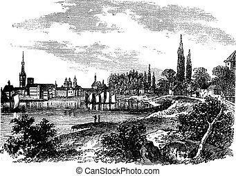 Dusseldorf in North Rhine-Westphalia, Germany, vintage engraving