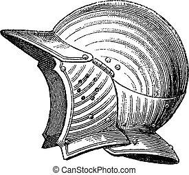 Pot head or helmet vintage engraving