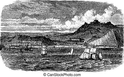 Dover in England, United Kingdom, vintage engraving - Dover...