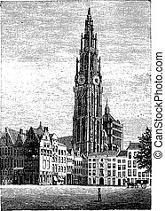 Cathedral of Our Lady, in Antwerp, Belgium, vintage engraving.