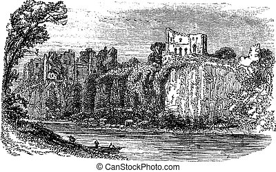 Chepstow Castle, in Monmouthshire, Wales, during the 1890s, vintage engraving