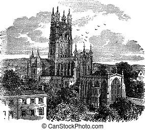 Gloucester Cathedral or the Cathedral Church of St Peter and the Holy and Indivisible Trinity in Gloucester England vintage engraving