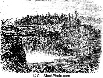 Chaudiere river Falls,in Quebec, Canada vintage engraving,...